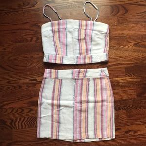 Forever 21 linen skirt and crop top set